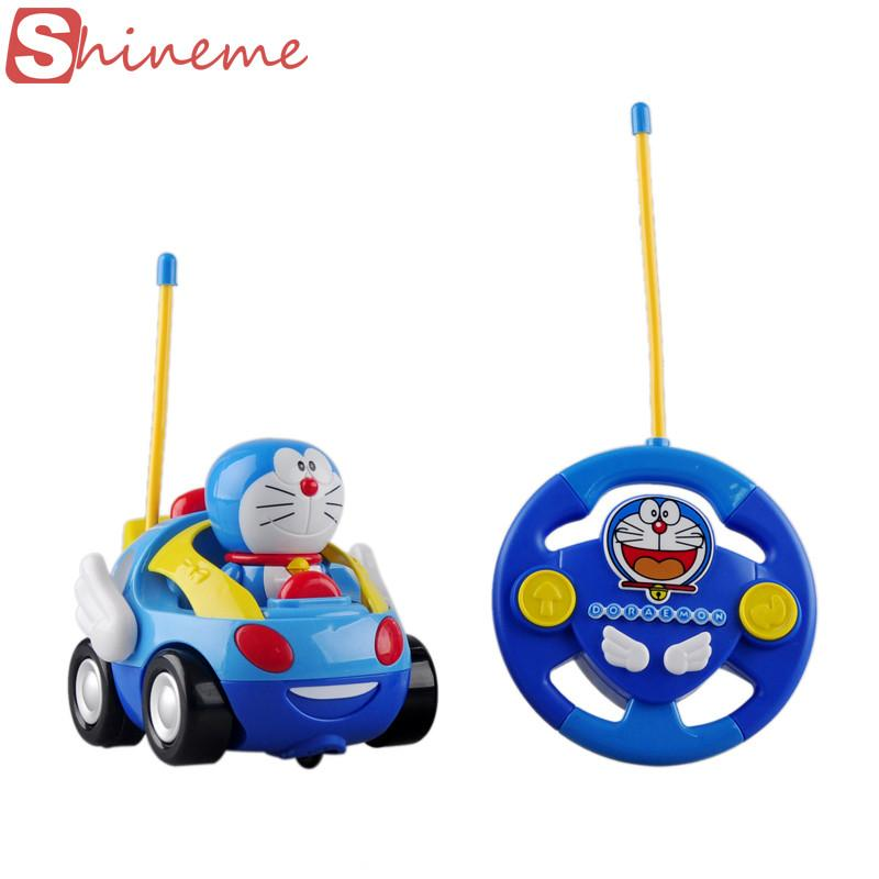 New baby boys girl Doraemon Remote Control Electric toys car kids RC Car High speed Cute cat Cartoon musical light child Car toy