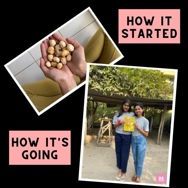 Two pictures, one with a hand full of makhana, popped water lily seeds, a healthy snack.  The other picture is of the Dear Snackers business owner holding a pack of turmeric makhana, popped water lily seeds, a healthy snack, a low calorie snack.