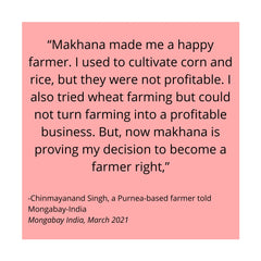 """""""Makhana made me a happy farmer. I used to cultivate corn and rice, but they were not profitable. I also tried wheat farming but could not turn farming into a profitable business. But, now makhana is proving my decision to become a farmer right,"""""""