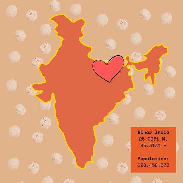 a map image of the country, india, with a heart over where Bihar is.