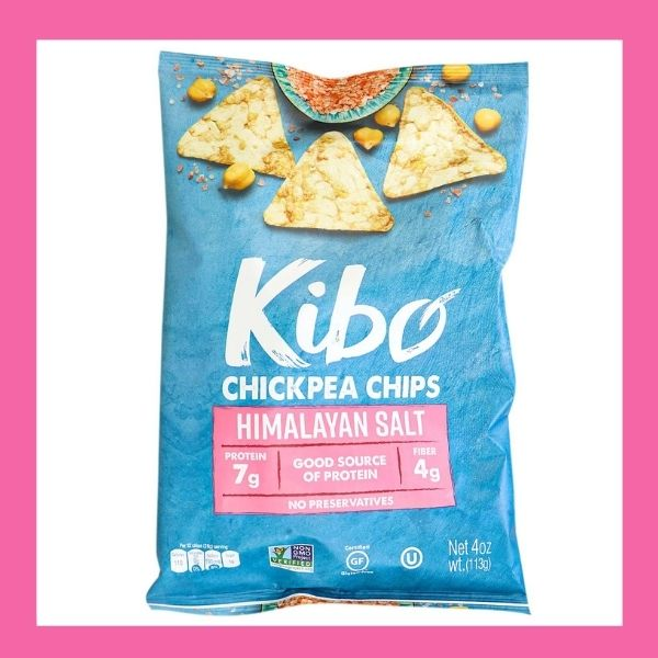Bag of Kibo Chickpea Chips, healthy chip alternative, healthy chip option