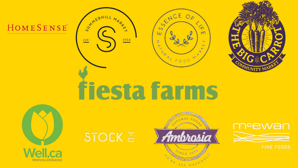 image with yellow background showing the store logos from stores where Dear Snackers Makhana can be bought in person. Stores featured from left to right, top to bottom: Homesense, Summerhill market, essential life, the big carrot, fiesta farms, well.ca, stock tc, ambrosia, mcewan fine foods.