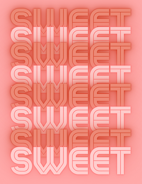 word sweet written in pink neon letters continuously