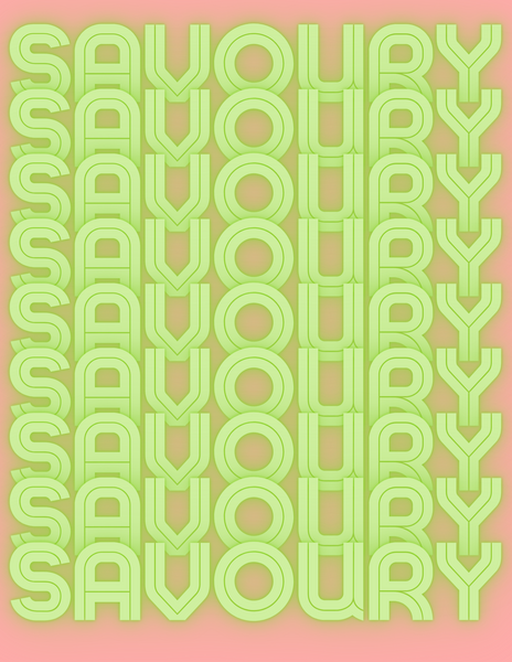 word savoury written in green neon letters continuously