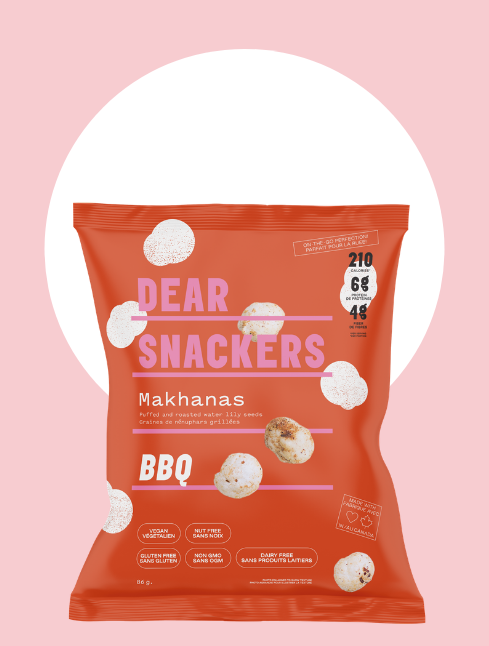 bag of dear snackers bbq makhana on a pink background