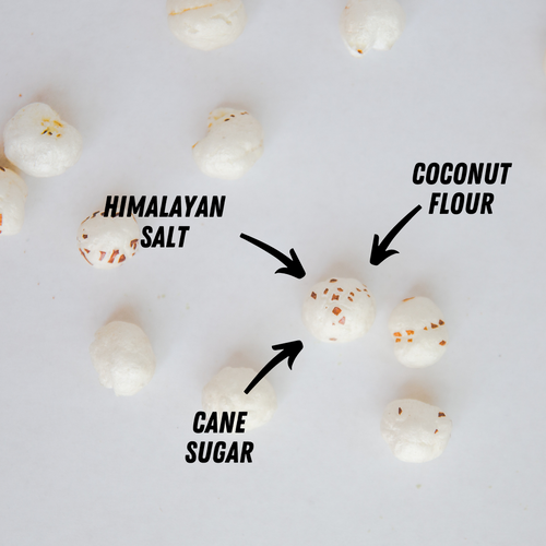 3 arrows pointing to sweet and salty makhana puffs. text is HIMALAYAN SALT, COCONUT FLOUR, CANE SUGAR