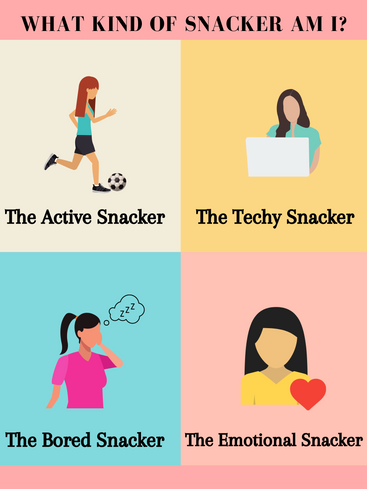 what kind of snacker am i. top left: an active person, the active snacker. top right: women in front of a laptop, the techy snacker. bottom left: women visibly bored, the bored snacker. bottom right: a woman with a big heart, the emotional snacker