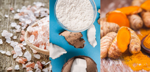 left image, himalayan salt crystals. centre image: coconut flour in a bowl and pieces of coconut all around. left: fresh turmeric root and turmeric powder