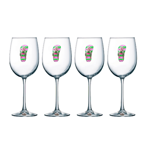Four Pack of Flip Flop Jeweled Stemmed Wine Glasses - Save 15%
