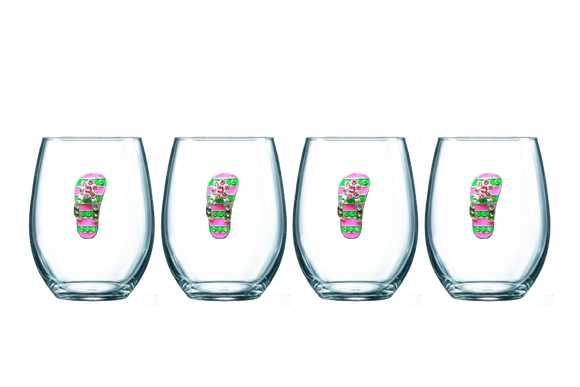 Four Pack of Flip Flop Jeweled Stemless Wine Glasses - Save 15%