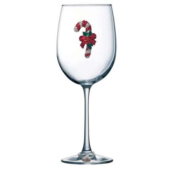 Candy Cane Jeweled Stemmed Wine Glass