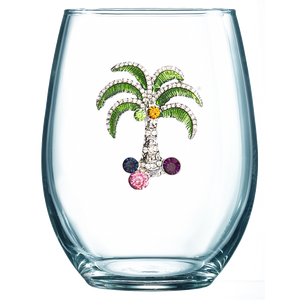 Palm Jeweled Stemless Wine Glass