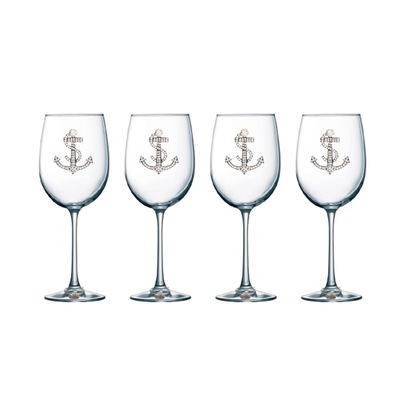 Four Pack of Anchor Jeweled Stemmed Wine Glasses - Save 15%