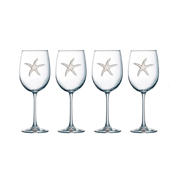 Four Pack of Starfish Jeweled Stemmed Wine Glasses - Save 15%