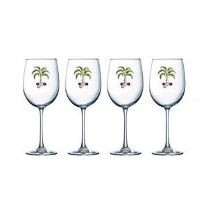 Four Pack of Palm Jeweled Stemmed Wine Glasses - Save 15%