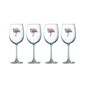 Four Pack of Flamingo Jeweled Stemmed Wine Glasses - Save 15%