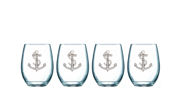 Four Pack of Anchor Jeweled Stemless Wine Glasses - Save 15%