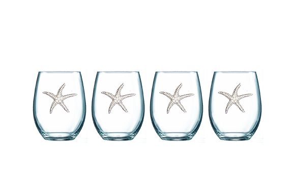 Four Pack of Starfish Jeweled Stemless Wine Glasses - Save 15%