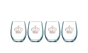 Four Pack of Aurora Borealis Crown Jeweled Stemless Wine Glasses - Save 15%