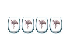Four Pack of Flamingo Jeweled Stemless Wine Glasses - Save 15%
