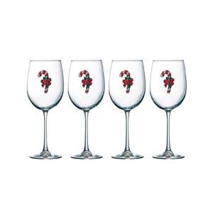 Four Pack of Candy Cane Jeweled Stemmed Wine Glasses - Save 15%