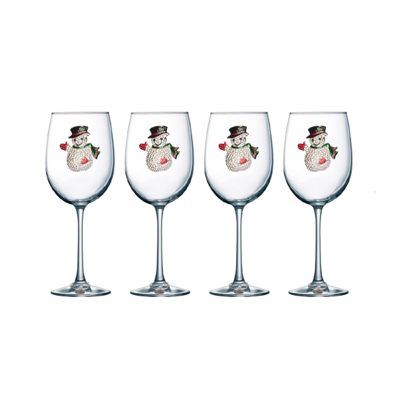 Four Pack of Snowman Jeweled Stemmed Wine Glasses - Save 15%