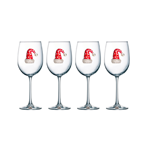 Four Pack of Santa Hat Jeweled Stemmed Wine Glasses - Save 15%