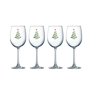Four Pack of Christmas Tree Jeweled Stemmed Wine Glasses - Save 15%