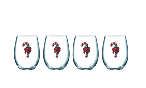 Four Pack of Candy Cane Jeweled Stemless Wine Glasses - Save 15%