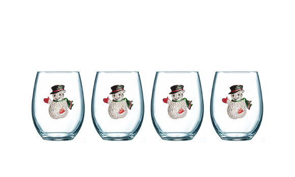 Four Pack of Snowman Jeweled Stemless Wine Glasses - Save 15%