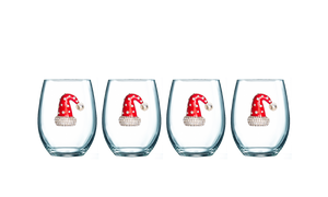 Four Pack of Santa Hat Jeweled Stemless Wine Glasses - Save 15%