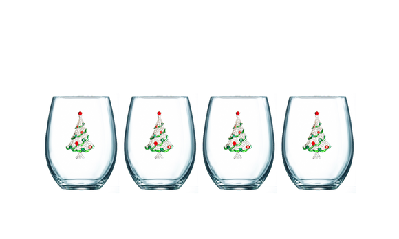 Four Pack of Christmas Tree Jeweled Stemless Wine Glasses - Save 15%