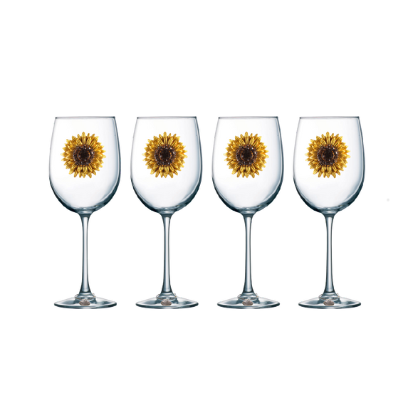 Four Pack of Sunflower Jeweled Stemmed Wine Glasses - Save 15%
