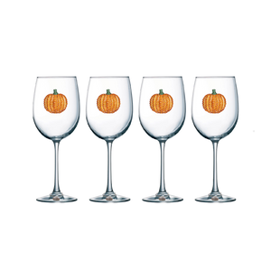 Four Pack of Pumpkin Jeweled Stemmed Wine Glasses - Save 15%