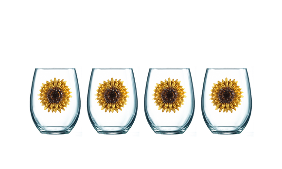 Four Pack of Sunflower Jeweled Stemless Wine Glasses - Save 15%
