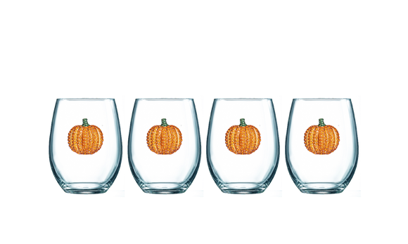 Four Pack of Pumpkin Jeweled Stemless Wine Glasses - Save 15%