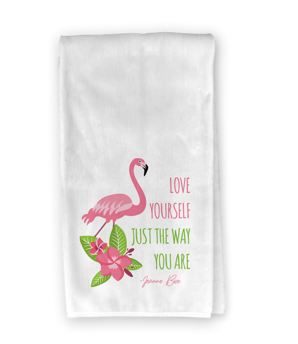 Love Yourself Flamingo Kitchen Towel