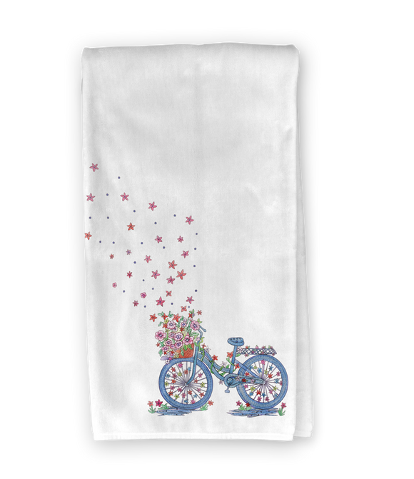 Floral Bicycle Kitchen Towel