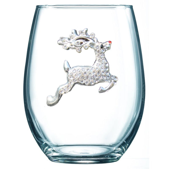 Reindeer Jeweled Stemless Wine Glass
