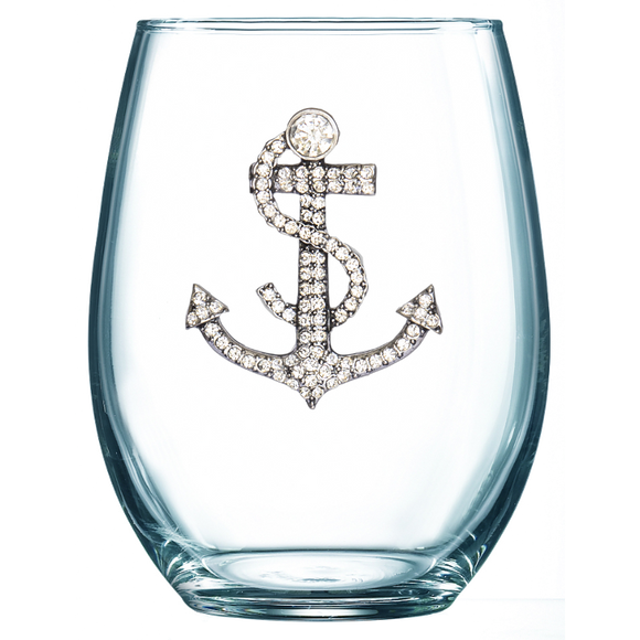 Anchor Jeweled Stemless Wine Glass