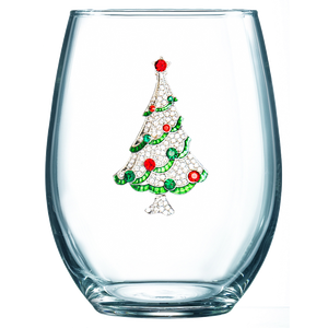 Christmas Tree Jeweled Stemless Wine Glass