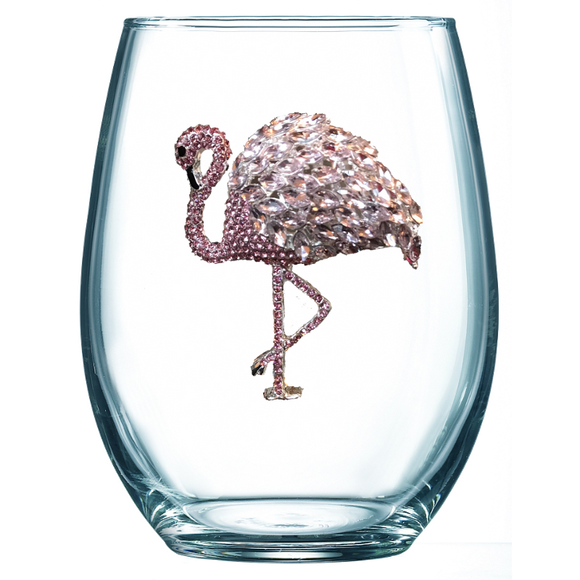 Flamingo Jeweled Stemless Wine Glass