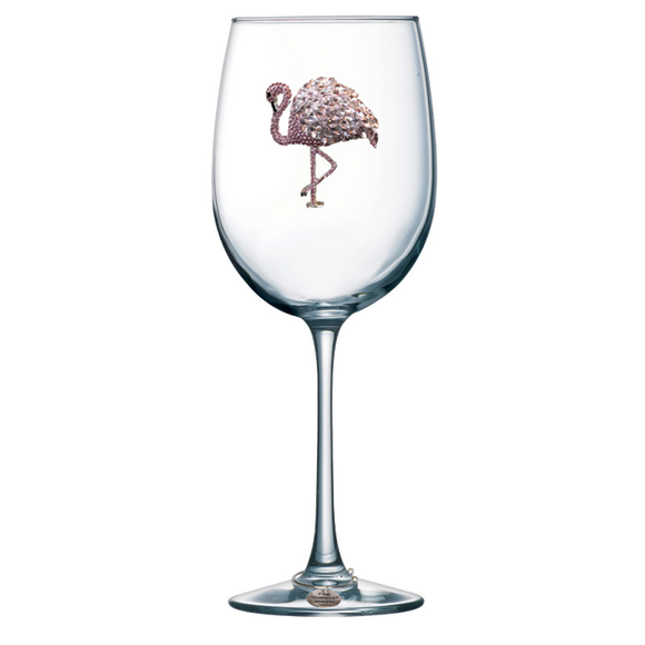 Flamingo Jeweled Stemmed Wine Glass