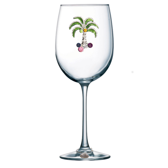 Palm Jeweled Stemmed Wine Glass