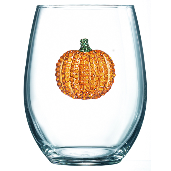 Pumpkin Jeweled Stemless Wine Glass
