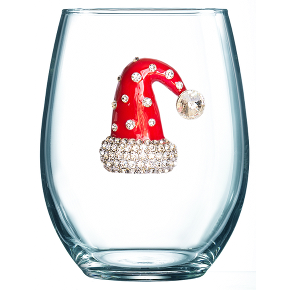 Santa Hat Jeweled Stemless Wine Glass