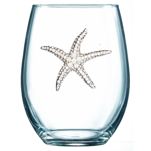 Starfish Jeweled Stemless Wine Glass