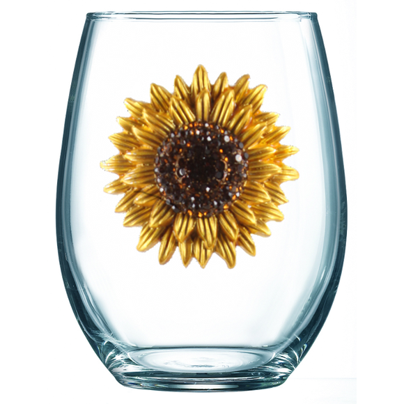 Sunflower Jeweled Stemless Wine Glass