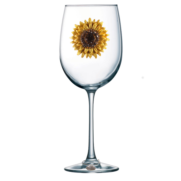 Sunflower Jeweled Stemmed Wine Glass