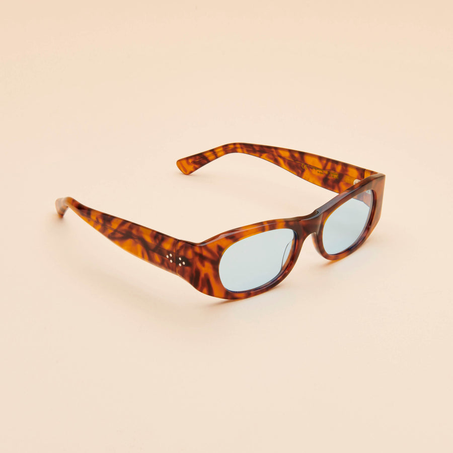 Tangerine | Light Tortoise Acetate | Rif Blue Lens